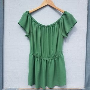 Anthropologie Postage Stamp | Green Ruffled Blouse
